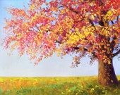 Autumn Original oil painting Red and Yellow tree. Colorful leaves. Autumn landscape.