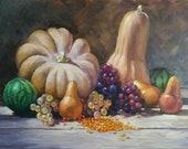 Autumn still life. Pumpkin,watermelon,grapes. Original oil painting in Warm color for unique wall decor.