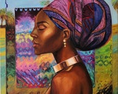 Original Oil Painting African Woman in a Turban. Colorful unique artworc. Interior wall decor
