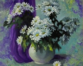 Chamomile flowers. Abstract flowers oil painting. Floral painting original on panel. Floral still life painting