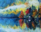 Abstract landscape painting large. Original Oil painting on wood panel MDF.Colorful wall art abstract