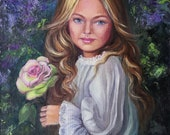 Portrait of a girl with a rose in her hands and long blond hair. Abstract natural background. Oil painting.
