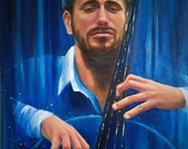 Portrait of a cellist Stjepan Hauser. Surreal painting. The musician plays the cello.The original oil portrait of a handsome man