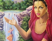 Indian girl in surreal oil painting.Aishwarya Rai,Taj Mahal,Indian goddess in a green landscape with a waterfall. Author's composition