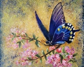 Square abstract oil painting original for interior. Blue Butterfly on pink flowers. Painting using gold paint. Floral art decor. Middle.
