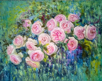 Original semi-abstract floral painting. Roses on an abstract background. Made in oil on canvas with a brush and palette knife.