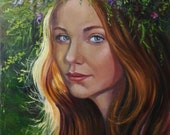 Portrait of a girl in a wreath of wildflowers against the background of a natural landscape. Stretched canvas, oil. The ends are painted
