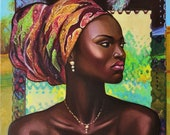 African Woman in a Turban Original Oil Painting. Colorful unique artwork. Interior wall decor