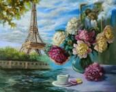 Eiffel tower wall art.Impressionist art.Large canvas oil painting.Flower art.Still life painting original.Landscape painting.Surreal art.