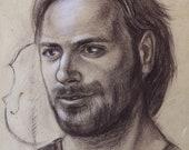 Cellist Stjepan Hauser, Sepia Graphite Portrait on Kraft Paper,Famous Musician,Handsome Man Gift Music Lovers