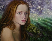 Portrait of a girl with long red hair on the background of a natural landscape.
