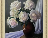 Original Oil Painting Wall Decor. White Peonies in a Clay Jug on a White Tablecloth. Unique Painting for Interior Design Natural canvas