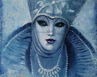 Original venetian masks oil painting artwork. Venice Carnival painting. Portrait painting woman. Aquamarine color painting absract