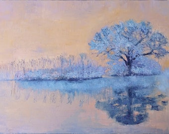 Winter tree painting. Original oil painting large. Frozen lake landscape painting. Frost on tree. Foggy forest wall art.