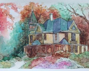 Watercolor painting original artwork. Watercolor and markers sketch. Wall decor. Not printing, original art on watercolor paper.