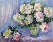 Abstract floral painting original. Peonies oil painting. Flowers painting on fiberboard. Impasto wall art.