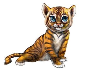 Printable wall art. High resolution file. Original decor. Tiger cub.