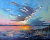 Abstract landscape oil wall artwork.Palette knife on canvas Large Original Abstract painting.Sunset on the river.Contemporary art oversized