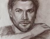 Graphic Portrait Chris Hemsworth Famous Actor Graphite Pastel Paper Original Artwork.Realistic Celebrity Portrait in Classic Style