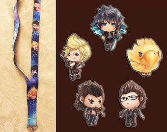 Lanyard keychain charms final fantasy xv 15 noctis chocobo prompto ignis gladiolus