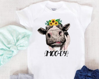 eda0eee7c MOO-DY Baby Onesie®, Sunflowers Cow Baby Bodysuit, Farm Girl Baby Clothes,  Farm Onesie®, Cow Onesie, Cow Baby Shower, Funny Cow Girl Outfit