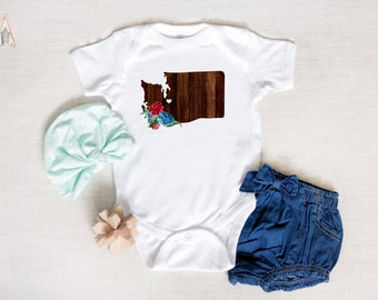 d96d0db4d88f Washington Baby Clothes, States Baby Clothes, State Baby Bodysuit, Boho Baby  Girl, Bohemian Baby Romper, Wooden State Baby Outfit, New Mom