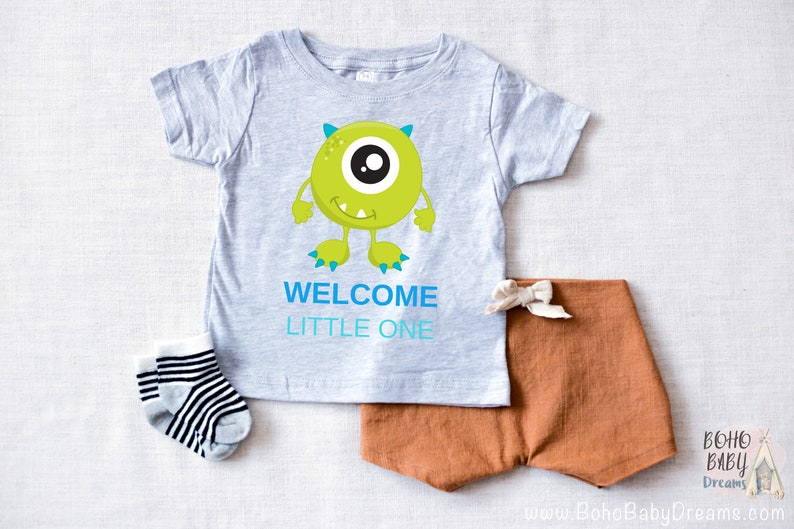 0dfa93cd281d4 Monsters baby Tshirt Welcome Little One baby shirt Monsters