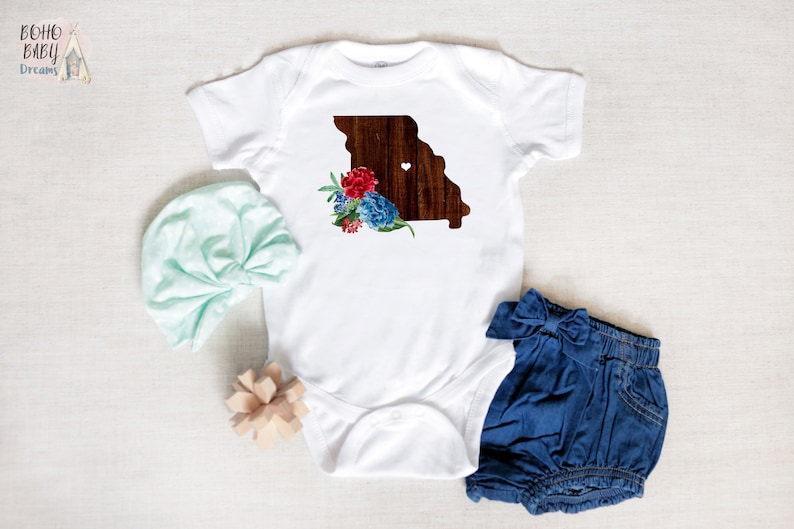 Missouri Baby Clothes Boho Baby Girl New Mom States Baby Clothes State Baby Bodysuit Bohemian Baby Romper Wooden State Baby Outfit