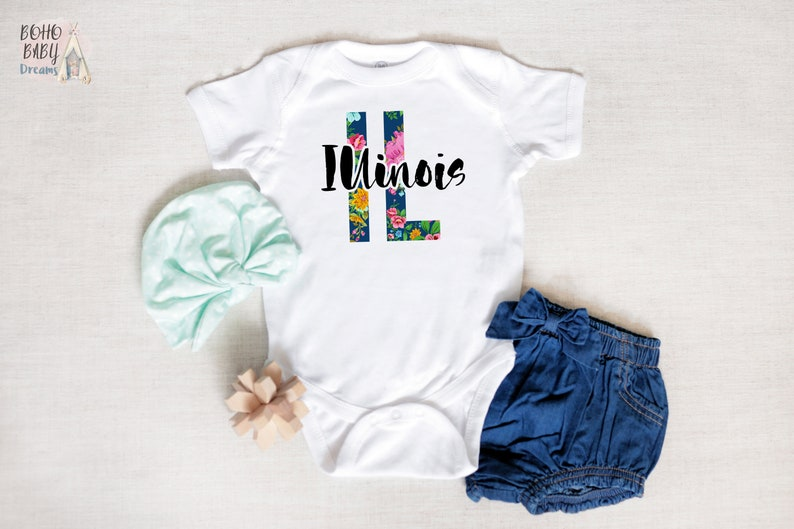 Illinois Baby Clothes States Baby Clothes Floral State Baby Outfit State Baby Bodysuit Bohemian Baby Romper Boho Baby Girl New Mom