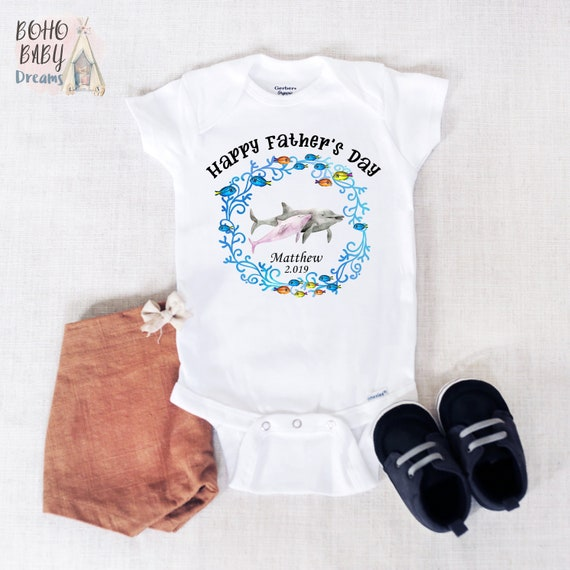 20bdf325e Happy Father's Day onesie®, Personalized Father's Day Baby onesie®, Dolphin  Dad & baby outfit, first Fathers day gift from baby, Ocean theme