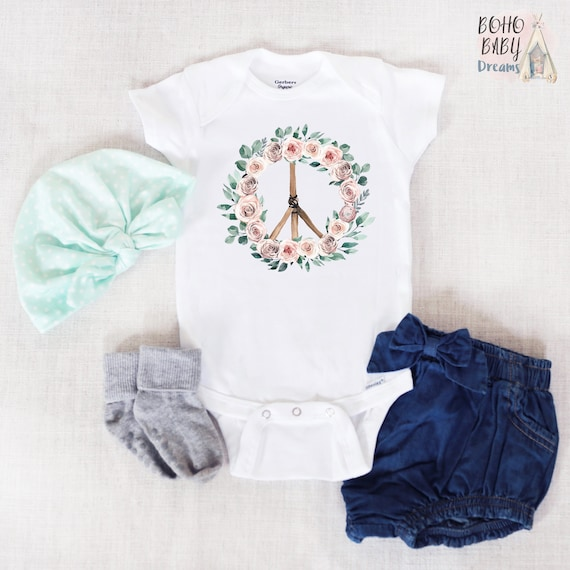 704f193f Peace Sign Baby Onesie®, Hippie Baby Bodysuit, Boho Baby Clothes, Baby  Shower Gift for Girl, Bohemian Baby Outfit, Floral Peace Sign, Hippie