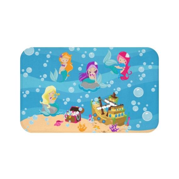 Mermaid Bath Mat Under The Sea Bath Mat Mermaid Bathroom Decor