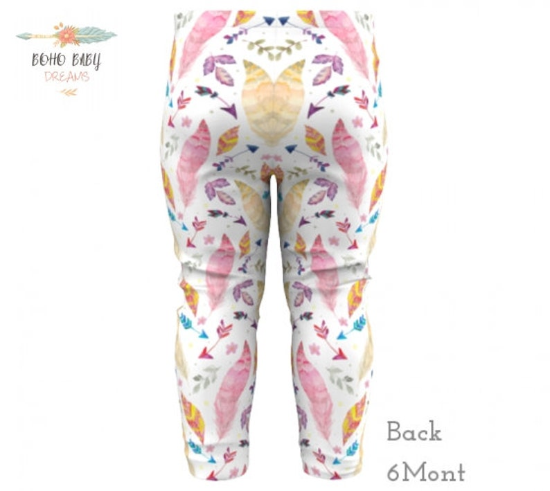 Bohemian Girl Pants Tribal or Hippie Baby Outfit Watercolor Feathers Baby Leggings Boho Baby Clothes Hispter Toddler Clothes Girls gift
