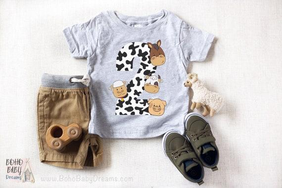 Farm Toddler Tshirt 2 Animals Shirt Second Birthday Farmhouse