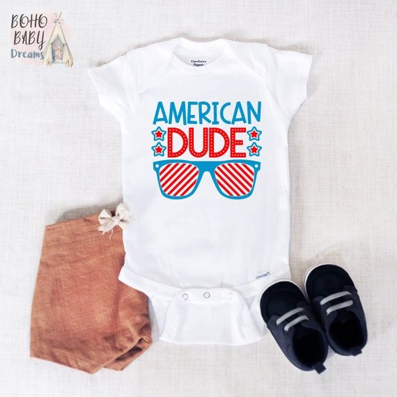 ee010071d American Dude Baby Onesie®, My First 4th of July Baby Bodysuit, Fourth of  July Onesie®, Sunglasses USA, Patriotic Baby, Veteran Day Outfit