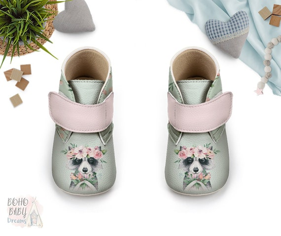 5735f254af14b Woodland Baby Booties for Girls, Raccoon Baby Shoes, First Walker ...