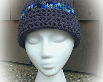 Personalized Men's Skull Cap, winter hat, Beanie, cold weather. Out doors.  Handmade, crochet