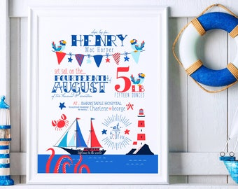 Nautical Nursery, Nautical Nursery Art, Nautical Nursery Decor, Birth Announcement Wall Art, Nautical Birth Print, Birth Announcement Print