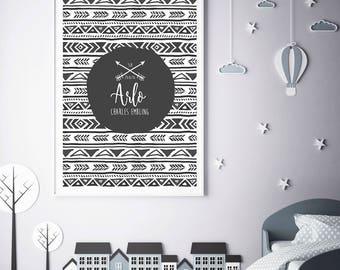 Personalised Print | Birth Print | Black and White Nursery | Nursery Print | New Baby Gift | Nursery Wall Art | Black and White Kids Room