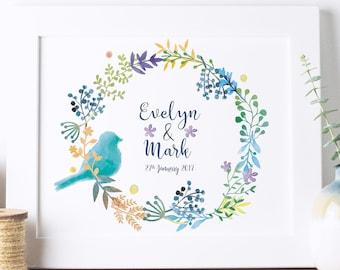 Personalised Wedding Print   Wedding Gift   Wedding Announcement   Custom Wedding Gift   Wedding Picture   Anniversary Gift   Couples Gift
