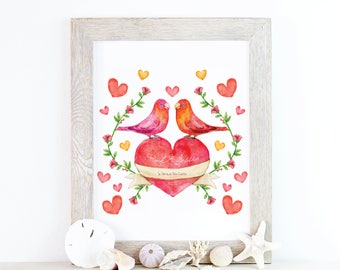 Personalised Watercolour Wedding Print   Wedding Gift   Wedding Announcement   Custom Wedding Gift   Wedding Picture   Anniversary Gift