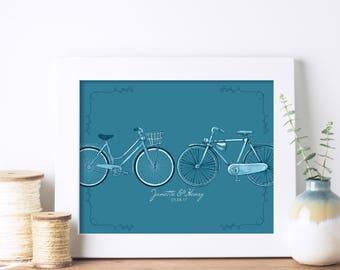 Personalised Wedding Bike Print   Wedding Gift   Custom Wedding Gift   Wedding Picture   Anniversary Gift   Couples Gift   Couples Gift