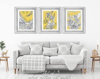 yellow gray decor etsy. Black Bedroom Furniture Sets. Home Design Ideas