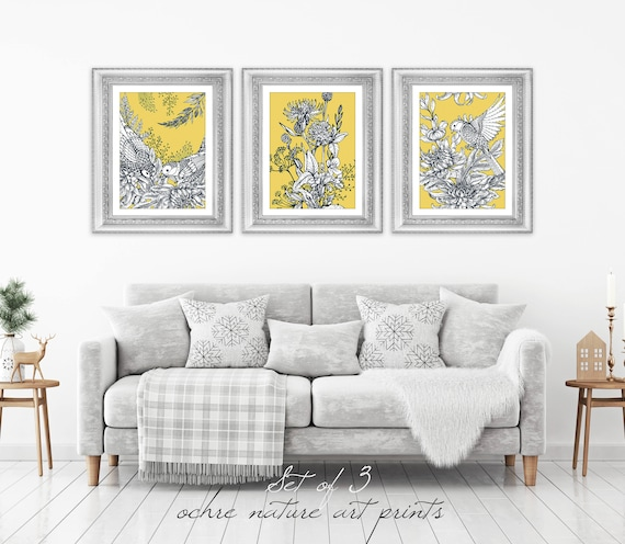 Set Of 3 Mustard Yellow Decor Yellow Wall Art Yellow Grey Etsy