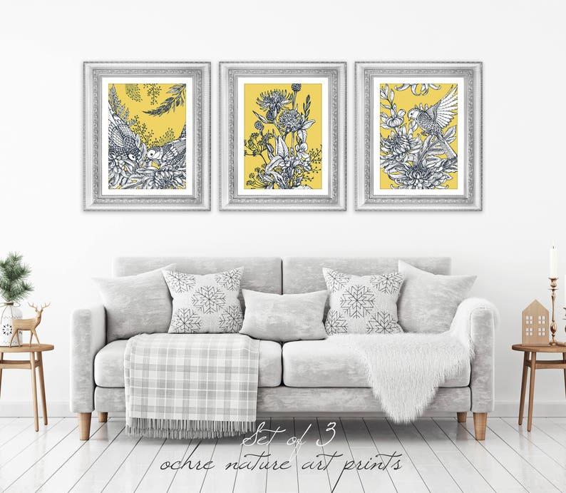 52262f41b83 Set of 3 Mustard Yellow Decor Yellow Wall Art Yellow Grey