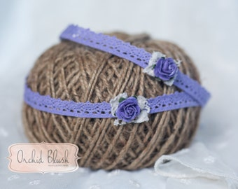 Handmade newborn headband.  Purple Rose, Photography prop