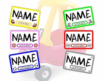 Personalised Childrens Aluminium / Metal Name Plate for Little Tikes Cozy Coupe, Bikes Etc.