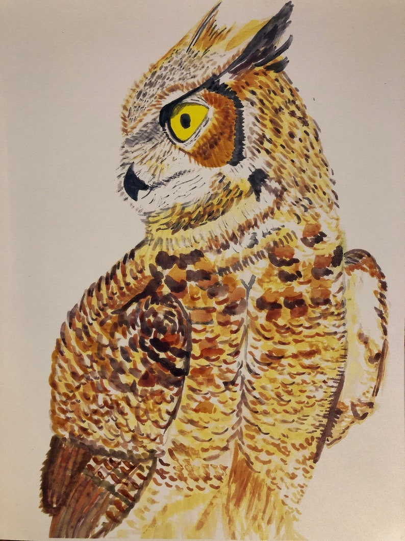 Woodland Animal Print Great Horned Owl Art Nursery Animal Prints Animal Art Wall Print Great Horned Owl Watercolor Owl Art Print