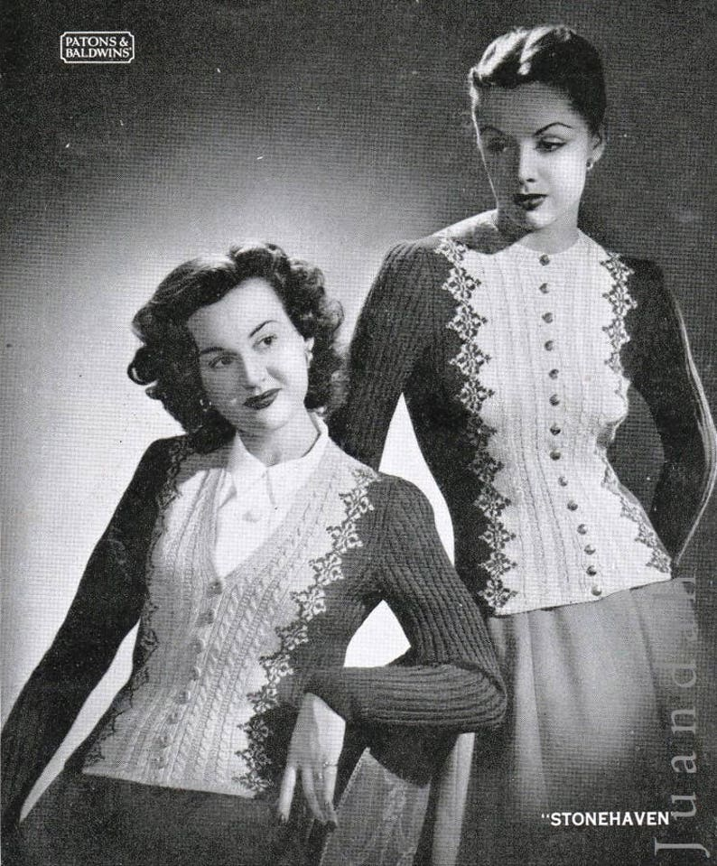 knitting patterns jumpers Scandinavian Scottish tops 10 x 1950s women/'s knits PDF Fair Isle book cardigans instant download