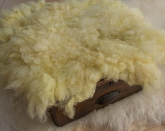 Curly Wool Felt - Ready to Ship - Lemon Jelly - Newborn Photo Prop - FLOVELIES - Item ID: A158